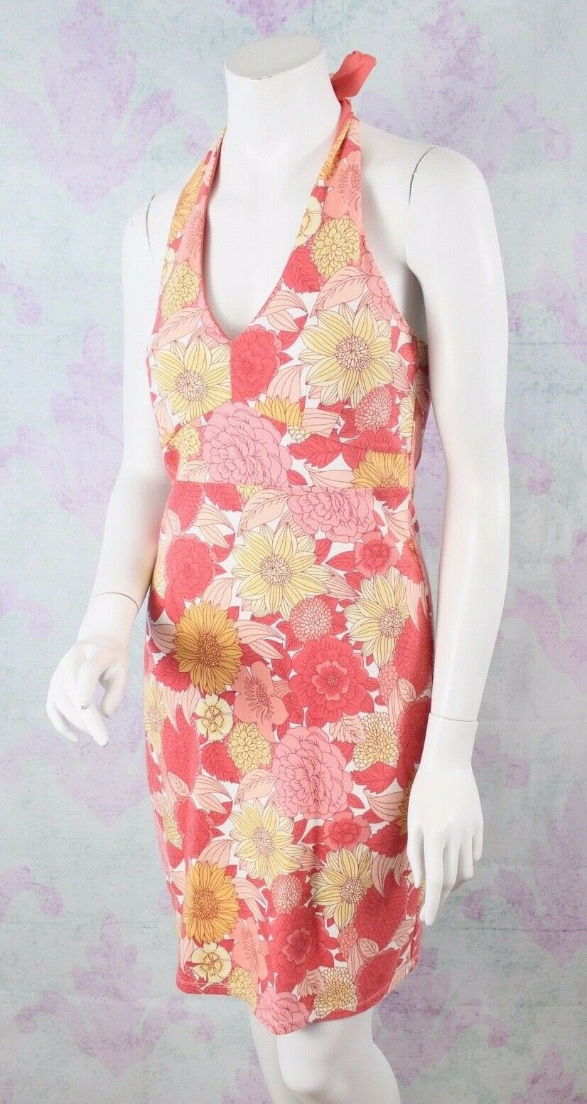 Ann Taylor LOFT Size 2 Orange Retro Floral Print Stretch Cotton Halter Sun Dress
