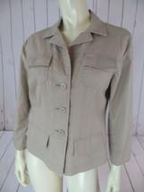 Ann Taylor Loft Blazer 8 Tan Cotton Spandex Button Front Safari Pockets CHIC! - $38.61