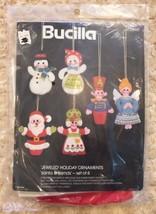 Vintage Bucilla 3590 Jeweled Felt Holiday Ornament Kit Santa & Friends Set of 6 - $14.99