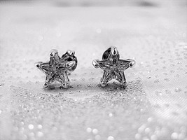 AVON RJ Signed Earrings Silver Tone Clear Crystal Star Studs Extremely Rare - $23.76