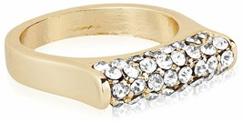 NEW Cohesive Jewels Gold Plated Cubic Zirconia Crystal Pave Bar Fashion Ring NWT