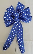 "4 Small 5-6"" Hand Made Blue Polka Dot Bows -  Indoor Outdoor Wreath Spri... - $9.90"