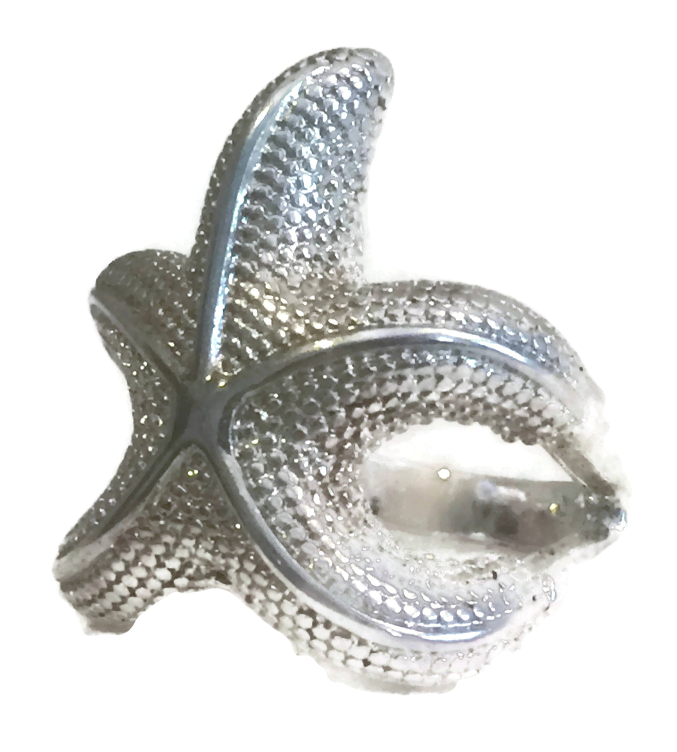 Vintage Starfish Ocean Sterling Silver Ring Thumb Band Size 7.25