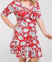 Plus Size Red Dress, Red Floral Ruffle Dress, Plus Size Floral Dress, Womens