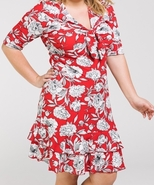 Plus Size Red Dress, Red Floral Ruffle Dress, Plus Size Floral Dress, Wo... - $49.99