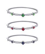 10K Solid Gold 0.73ct Real Diamond & Princess Gemstone 3-Stone Bangle Br... - $589.99