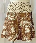 Womens Brown & White Bell Skirt Sz 14 Handmade Vintage 1970s Boho Hippie - $14.80