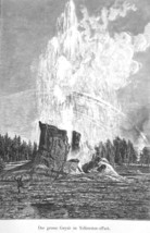 YELLOWSTONE Great Geyser - 1883 German Print - $21.60