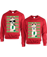 Couple Sweatshirt Cool Nerd Llama Ugly Xmas Party Matching Outfit Fun - $55.98