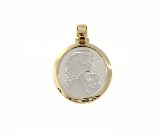18K YELLOW & WHITE GOLD PENDANT OVAL MEDAL MARY & JESUS ENGRAVABLE MADE IN ITALY