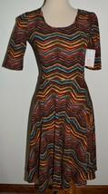 New LuLaRoe Dress Nicole Bright Orange Blue Green Chevron Textured A-Lin... - $28.04