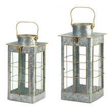 Country FARMHOUSE RUSTIC GALVANIZED CANDLE LANTERNS INDOOR OUTDOOR USE - $34.60+