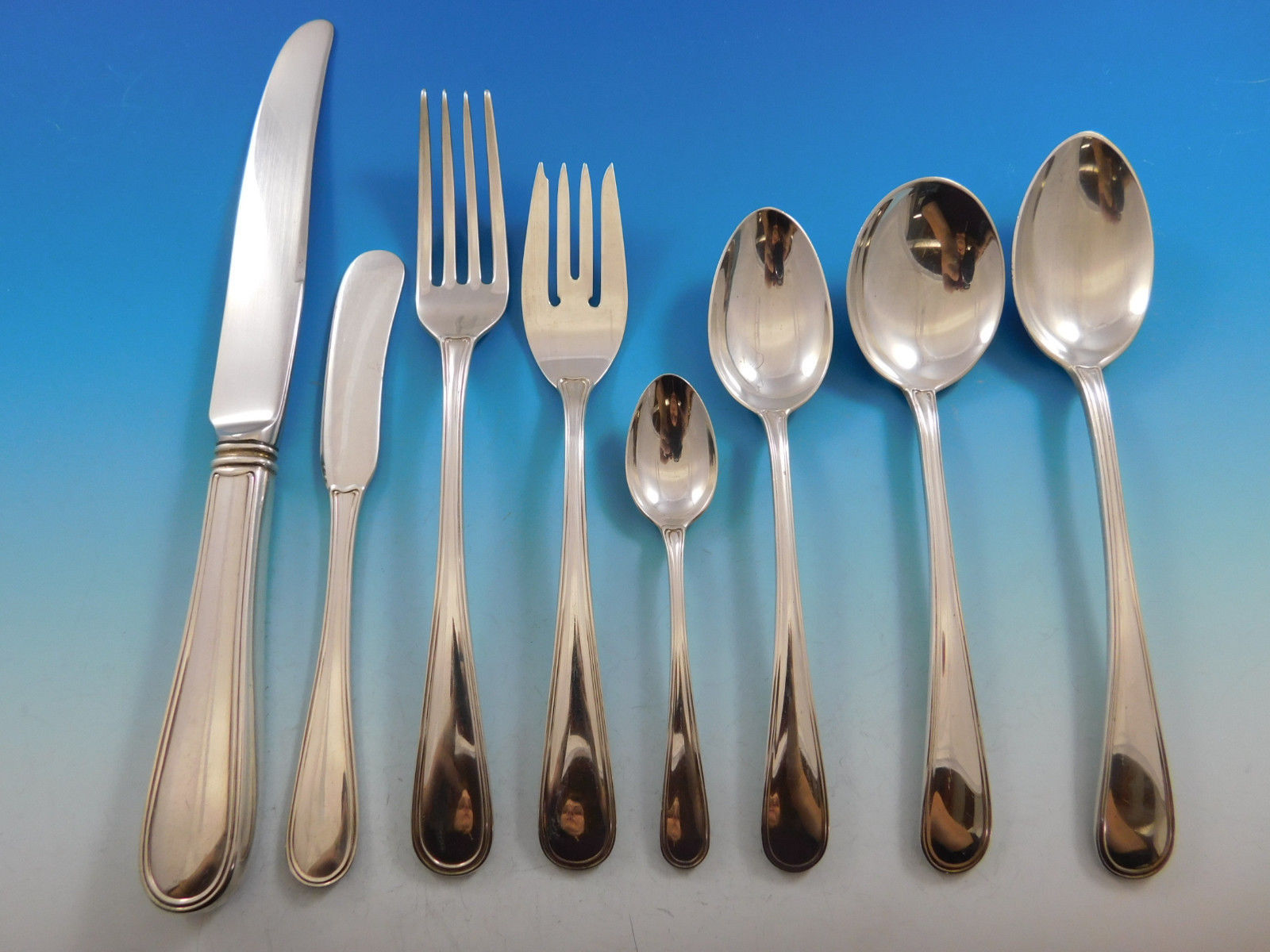 Primary image for Colonial Thread by Blackinton Sterling Silver Flatware Set 8 Service 74 pieces