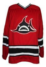 Custom Name # Los Angeles Sharks Retro Hockey Jersey Red Veneruzzo #2 Any Size image 4