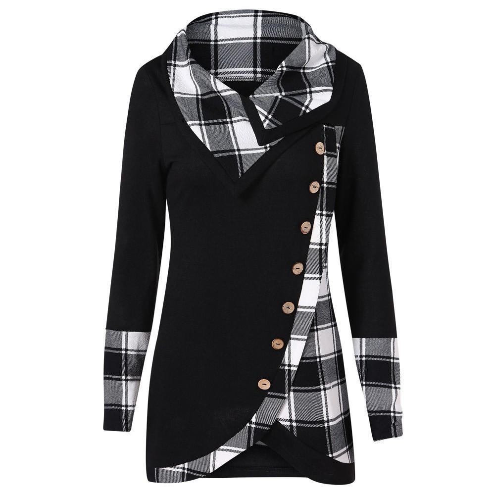 Womail 2018 Blouse Women Long Sleeve Irregular Hem Plaid Button Turtleneck Tarta