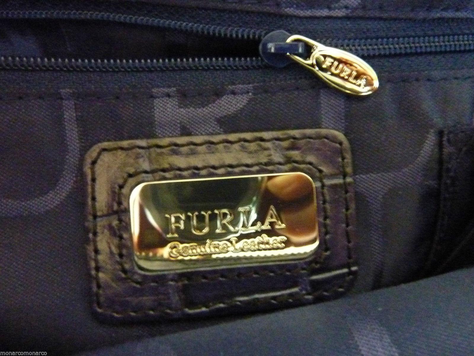 FURLA Notturno Dark Ink Blue Croc Embossed Leather Martha Tote/Xbody Bag $378