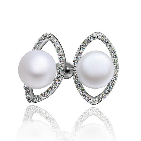 Primary image for Cluster Faux Pearl Beaded White Gold Tone  Earrings