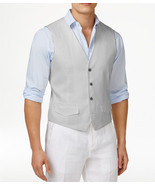 NEW MENS TASSO ELBA ISLAND 100% LINEN SLATE GREY SUIT DRESS VEST XL - $26.72