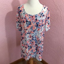 JM Collection Womens Pullover Top Size XXL Stretchy Short Sleeve Floral - $9.90