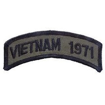 VIETNAM 1971 OD SUBDUED SHOULDER ROCKER TAB EMBROIDERED MILITARY PATCH - $13.53
