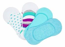 HUE 4-Pack Corte Bajo Mujer Forro Calcetines Neon Azul Osfm Nuevo Con Etiquetas