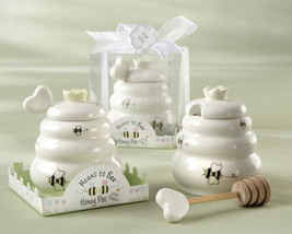 25 Meant to Bee Ceramic Honey Pot with Dipper Wedding Bridal Shower Favors - $132.95
