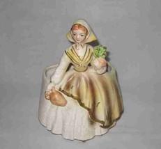"""Wonderful Vintage 7"""" Head Vase Lady Holding Jug And Vegetable - $57.87"""