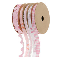 5 Pack Pink Baby Shower Cake Wrapping Ribbons DIY Scrapbook  - $27.00