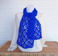 Crochet neck warmer/ blue scarf women/ knit scarf handmade/ soft crochet... - $43.00