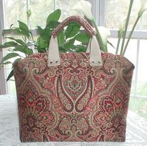 Burgundy Carpet Bag, Burgundy And Green Carpet Bag Tapestry, Dark Red Travel Bag - $219.00