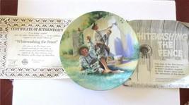WHITEWASHING THE FENCE 1st Issue In Tom Sawyer Series Mark Twain Plate COA - $10.00