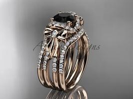 Bow engagement ring, Black Diamond double band 14kt rose gold diamond bo... - $3,440.00