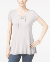 Pink Rose Womens Lace Up Basic T-Shirt White - Juniors - $7.51