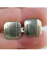 Vintage Mens Cuff Links Square Notched Corners With Ridges Gold Tone Swank - $8.90