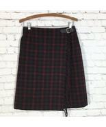 Eddie Bauer Plaid Wool Fringed Wrap Skirt Womans 4 Red Brown Black - $31.88