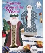 Santas Around The World Plastic Canvas Tree Sack Gift Lantern Mitered Hat  - $5.23