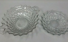 "Authentic Fostoria Clear Cubist 10"" Handled Serving Dish & 6"" Footed (FO... - $16.37"