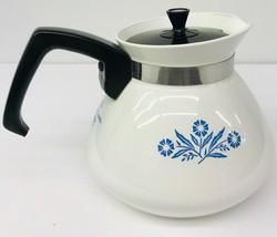 Corning Ware Cornflower Blue 6 Cup Coffee Tea Pot With Black Lid Vintage - $39.59