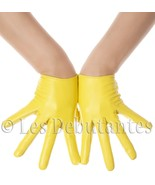 YELLOW LEATHER GLOVES LES DEBUTANTES SLIM FIT - $21.45
