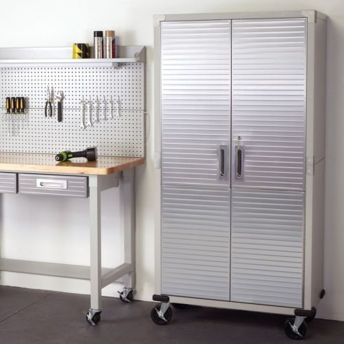 Primary image for Rolling Storage Cabinet Metal Locking Doors Stainless Steel Garage Tools Wheels