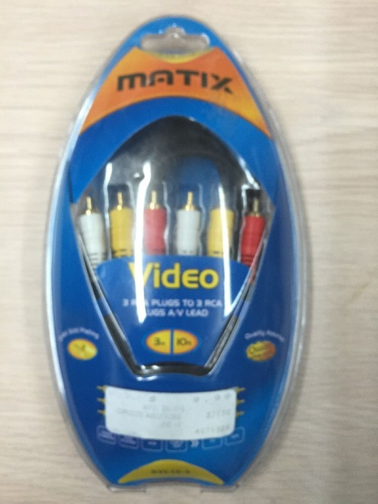 10ft RCA Audio Video Lead Cable Matix SVL10 3 RCA Plugs to 3 RCA Plugs AB4