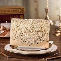 Wishmade 50X Gold Laser Cut Flora & Lace Wedding Invitations Cards Kit CW072