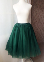 Women High Waist Tulle Midi Skirt Dark Green Tulle Skirt Midi Party Tutu Skirt