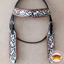 Western Horse Headstall Tack Bridle American Leather Fringes Hilason U-1-HS - $64.99