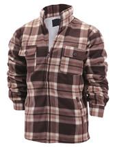 Men's Heavyweight Flannel Zip Up Fleece Lined Plaid Sherpa Jacket w/ Defect - L