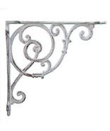 "Wall Shelf Bracket - Ornate Vine - Distressed White Cast Iron - 10"" Deep - $17.81"