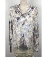 Jessica Simpson Size M Top Katie Front Fringe Long Sleeve Cowl Neck Wate... - $37.87