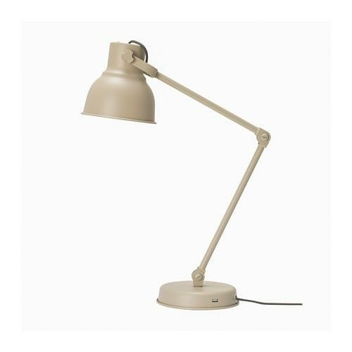 IKEA Hektar Work Lamp Beige with USB port image 2