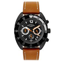 GS00500/04 ROTARY Chronograph Men's Brown Tan Black Dial Swiss Quartz Watch  - $135.56