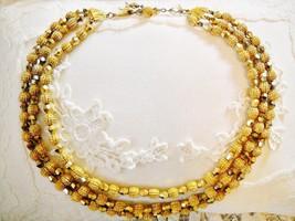 3-STRAND GOLD TONE BEADED BIB NECKLACE W/ HALLMARK CHARM - $11.00